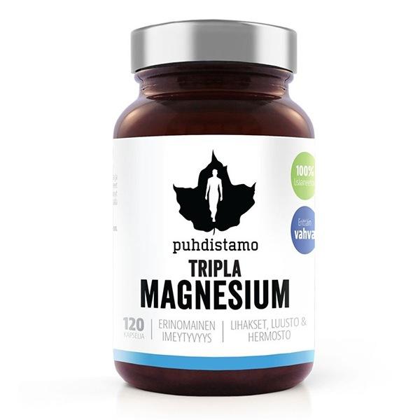 DOPLŇKY STRAVY Puhdistamo Triple Magnesium 120 kapslí (Hořčík)