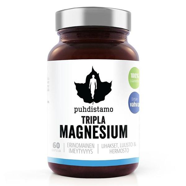 DOPLŇKY STRAVY Puhdistamo Triple Magnesium 60 kapslí (Hořčík)
