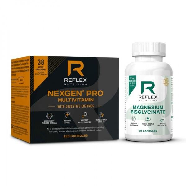Vitamíny a minerály Reflex Nutrition Nexgen® PRO + Digestive Enzymes 120 kapslí + Albion Magnesium 90 kapslí ZDARMA