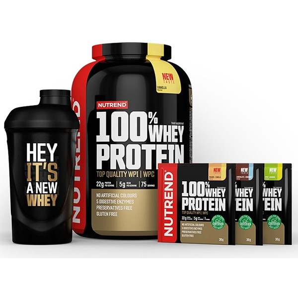 Nutrend 100% Whey Protein 2,25kg NEW čokoláda lískový ořech + Šejkr ZDARMA