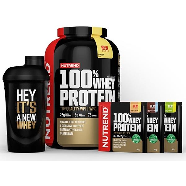 Nutrend 100% Whey Protein 2,25kg NEW banán jahoda + Šejkr ZDARMA