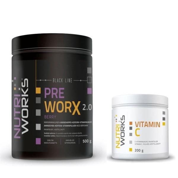 NutriWorks Pre Worx NEW 500g berry + Vitamin C 200g ZDARMA