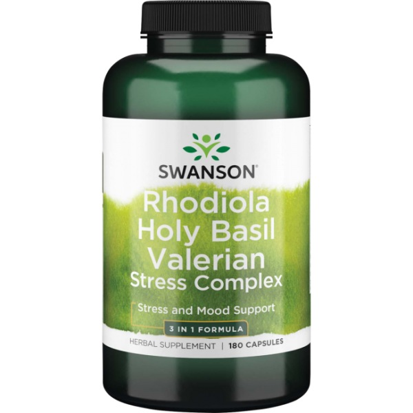 Swanson Rhodiola Holy Basil Valerian Stress Complex 180 kapslí