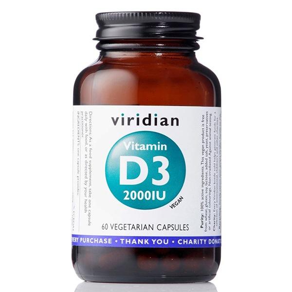 Vitamíny a minerály Viridian Vitamin D3 2000IU 60 kapslí