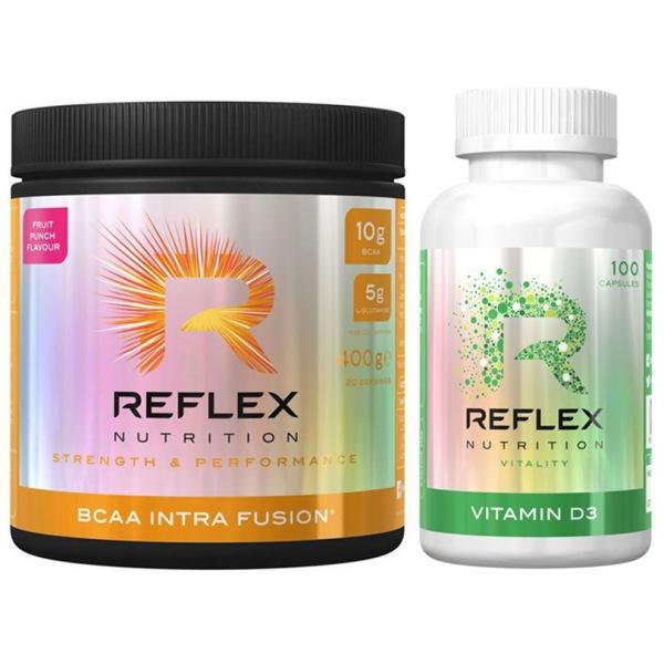 Reflex BCAA Intra Fusion® 400g ovocná směs + Vitamin D3 100kapslí ZDARMA