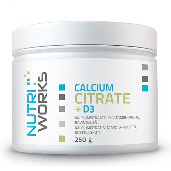 NutriWorks Calcium Citrate + D3 250g (Citrát vápenatý + vitamín D3)