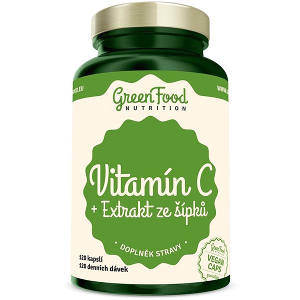 GreenFood Nutrition Vitamin C 200 + Extrakt ze šípků 120 kapslí